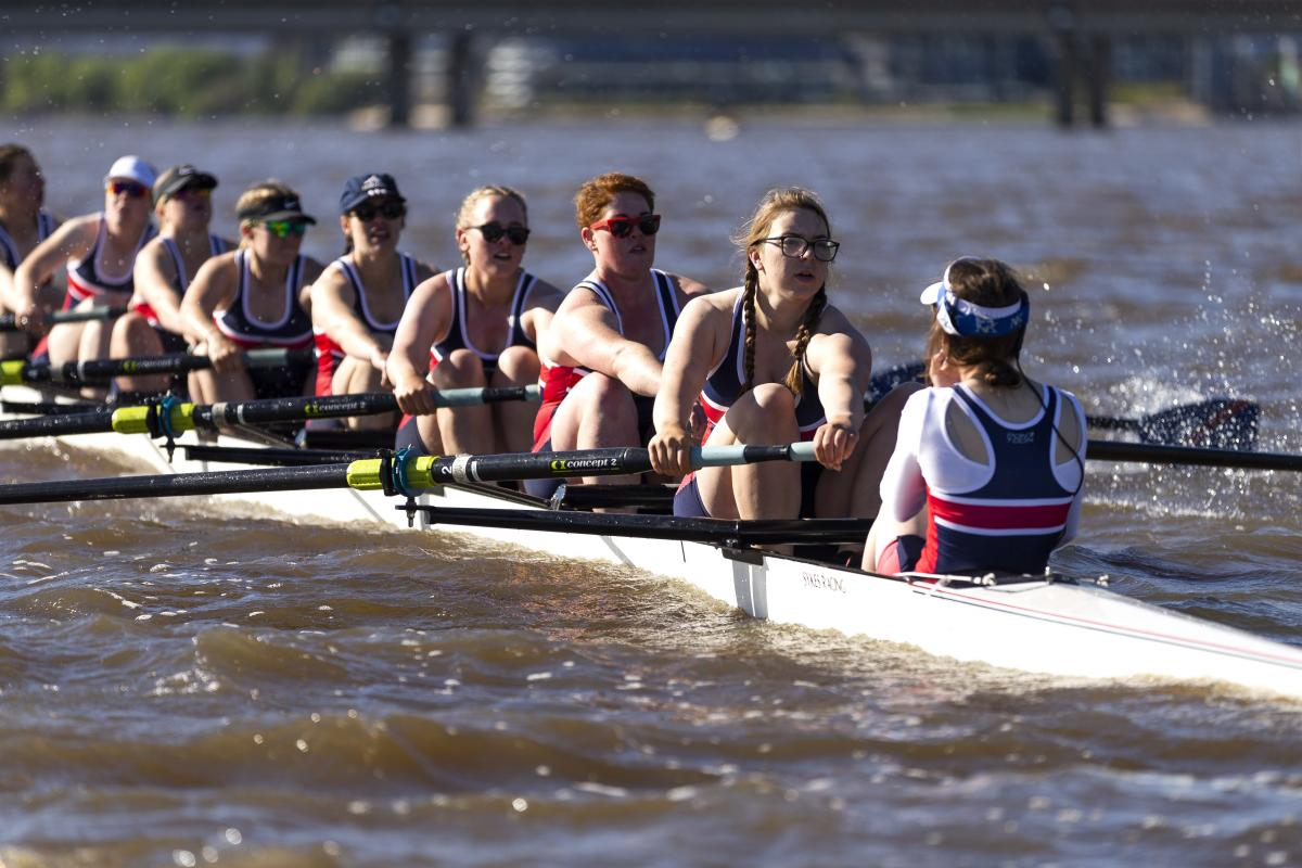 The Royal Military College - Duntroon rowing team in action in the Disher Cup Regatta on Lake Burley Griffin in Canberra. Photo: Leading Seaman Kieren Whiteley
