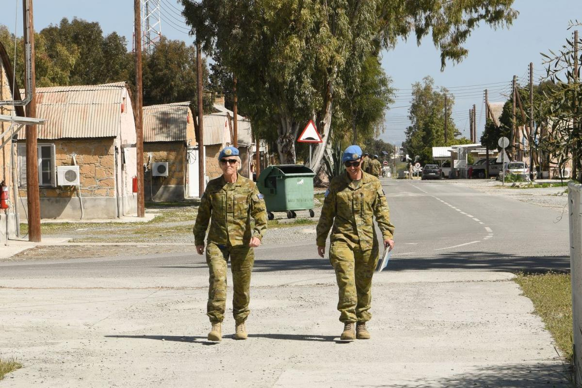 Force commander United Nations Force in Cyprus Major General Cheryl Pearce, left, and her aide-de-camp, Captain Tresha Oates, on Operation Charter in Cyprus.