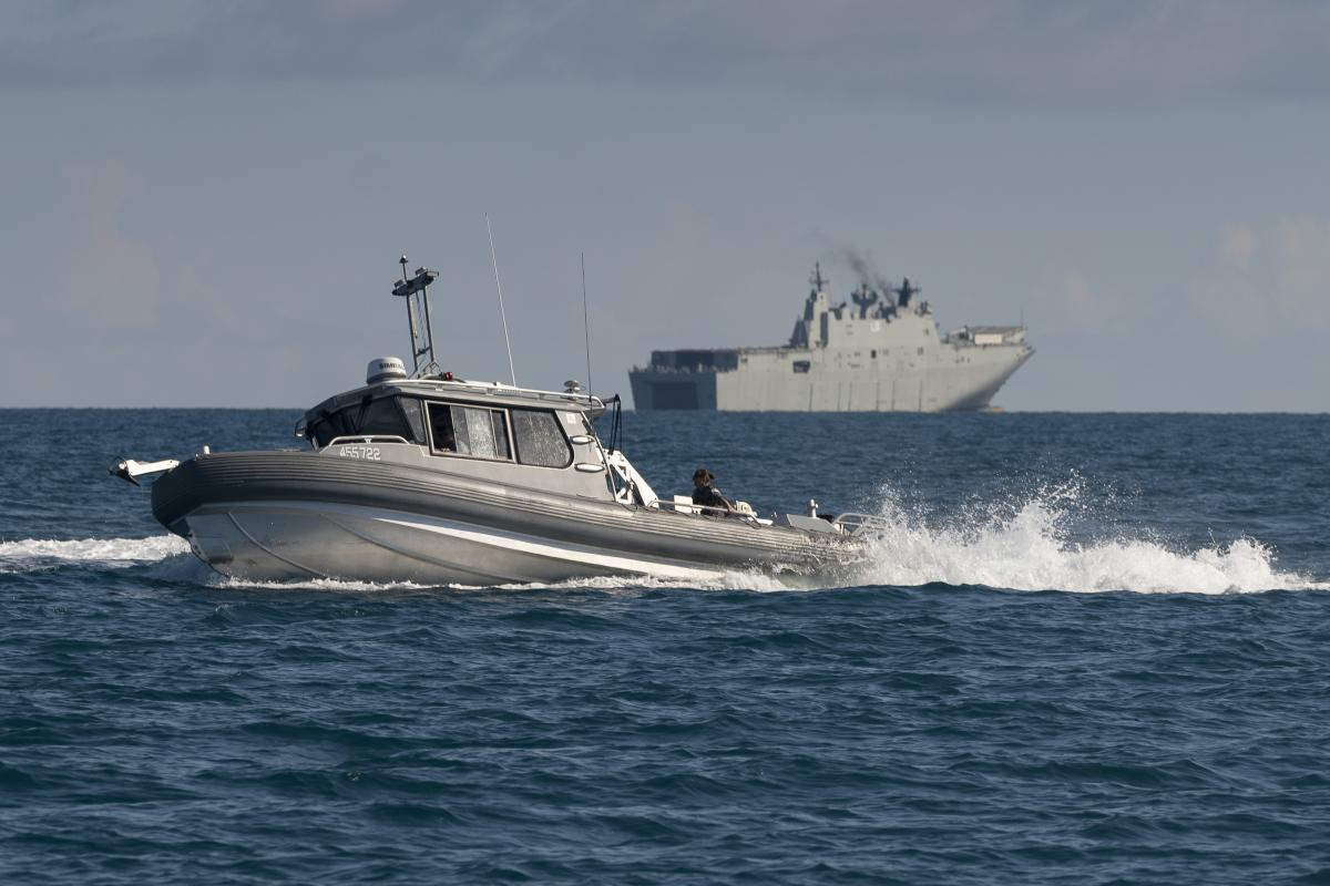 Survey boat Polaris was launched from HMAS Adelaide for the first time during Exercise Sea Wader 2020. Photo: Able Seaman Sittichai Sakonpoonpol