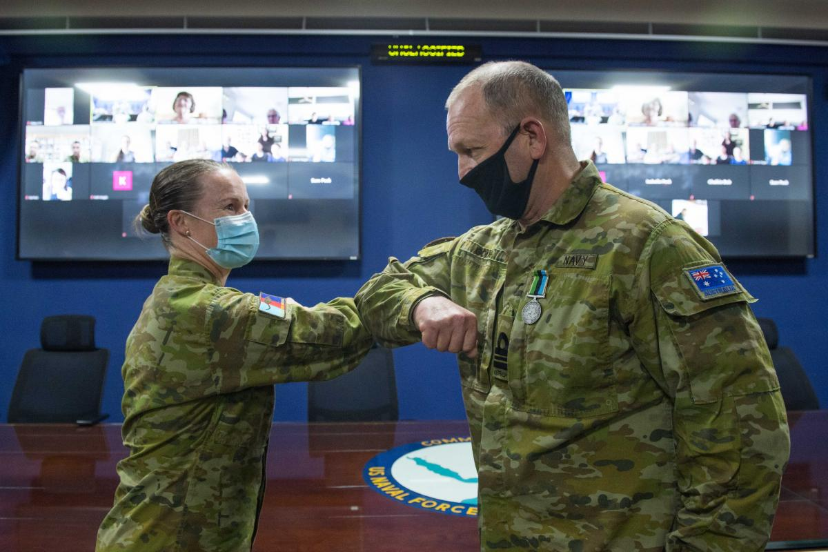 Lieutenant Commander Michael Gough was presented with the Australian Active Service Medal by Commander Joint Task Force 633 Major General Susan Coyle.