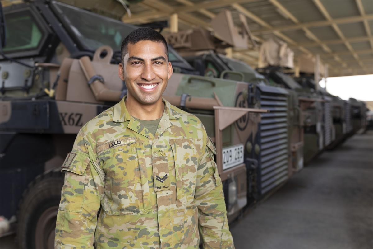 Corporal Barney Lelo is the transport non-commissioned officer/transport supervisor with the Force Support Element in the Middle East region. Photo: Corporal Tristan Kennedy