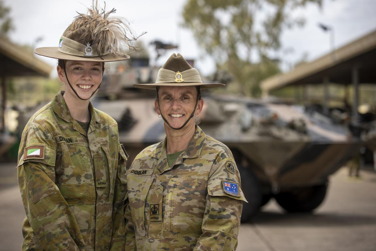 Trooper Aimee Doolan, from the 2nd/14th Light Horse Regiment (Queensland Mounted Infantry), left, and her mother, Warrant Officer Class 2 Julie Doolan, from the 7th Combat Brigade, at Gallipoli Barracks. Photo: Corporal Nicole Dorrett