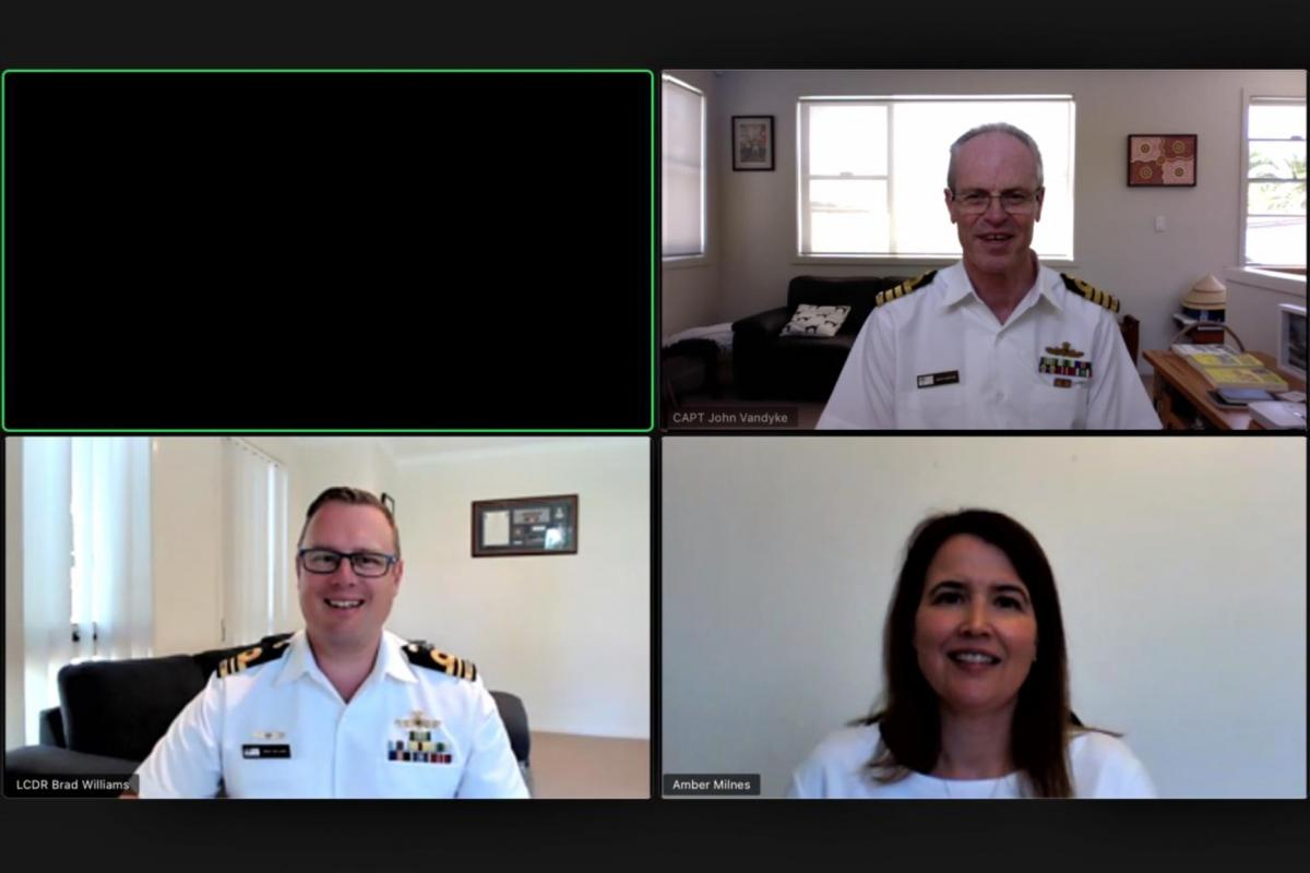 Officer selection board president Captain John Vandyke, top, Lieutenant Commander Brad Williams and Navy psychologist Amber Milnes prepare to interview an officer candidate via Zoom.