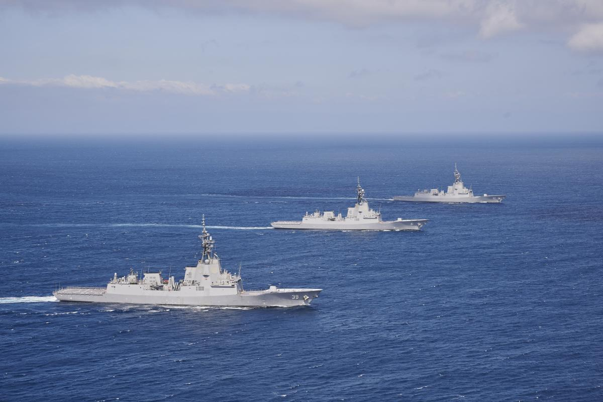 HMA Ships Hobart, Brisbane and Sydney exercise together for the first time in the eastern Australian exercise area off the coast of NSW. Photo: Peter Beeh