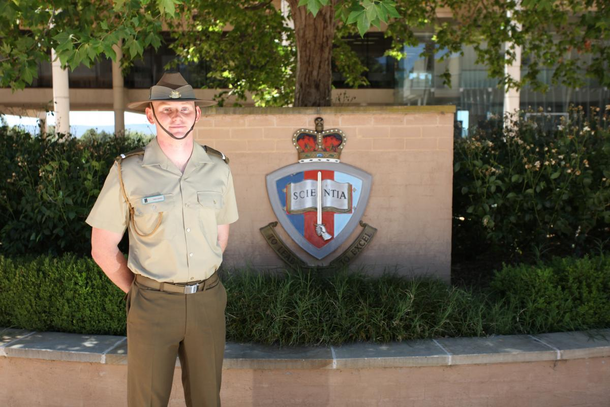 Officer Cadet Innes Lumsden at the Australian Defence Force Academy.