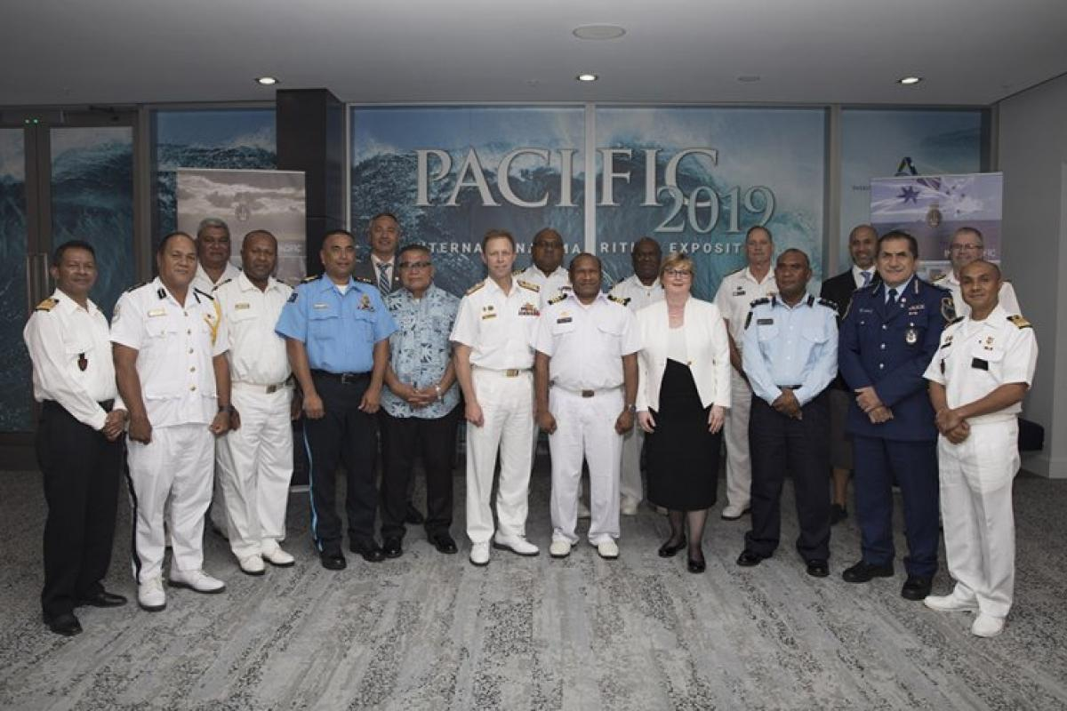 Delegates, including the Minister for Defence, Senator Linda Reynolds, and the Chief of Navy, Vice Admiral Mike Noonan, at the Pacific Maritime Security Partnership event at the 2019 Sea Power Conference. Photo: Able Seaman Ryan McKenzie
