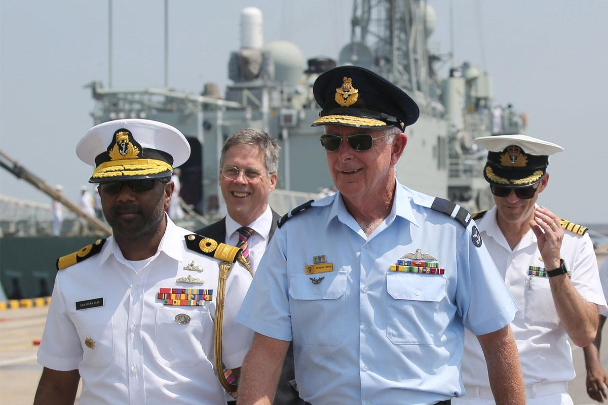 Sri Lankan Navy Director of Naval Operations Commodore Sanjeewa Dias with Commander Joint Task Force 661, Air Commodore Richard Owen, AM, after the arrival of HMA Ships Canberra and Newcastle in Colombo, Sri Lanka.