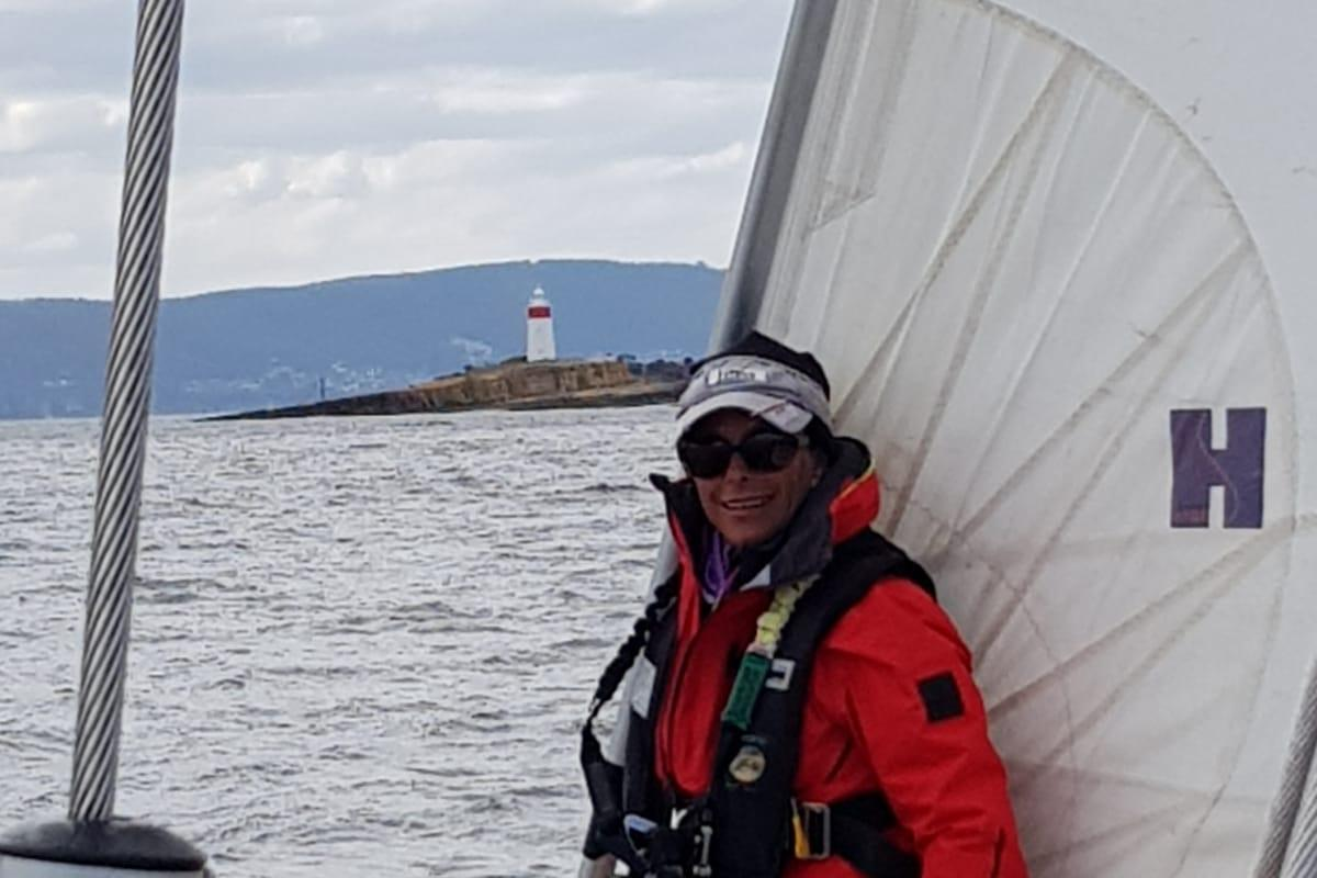 Warrant Officer Class 2 Meika Wright in Wonderland during last year's Sydney to Hobart yacht race.