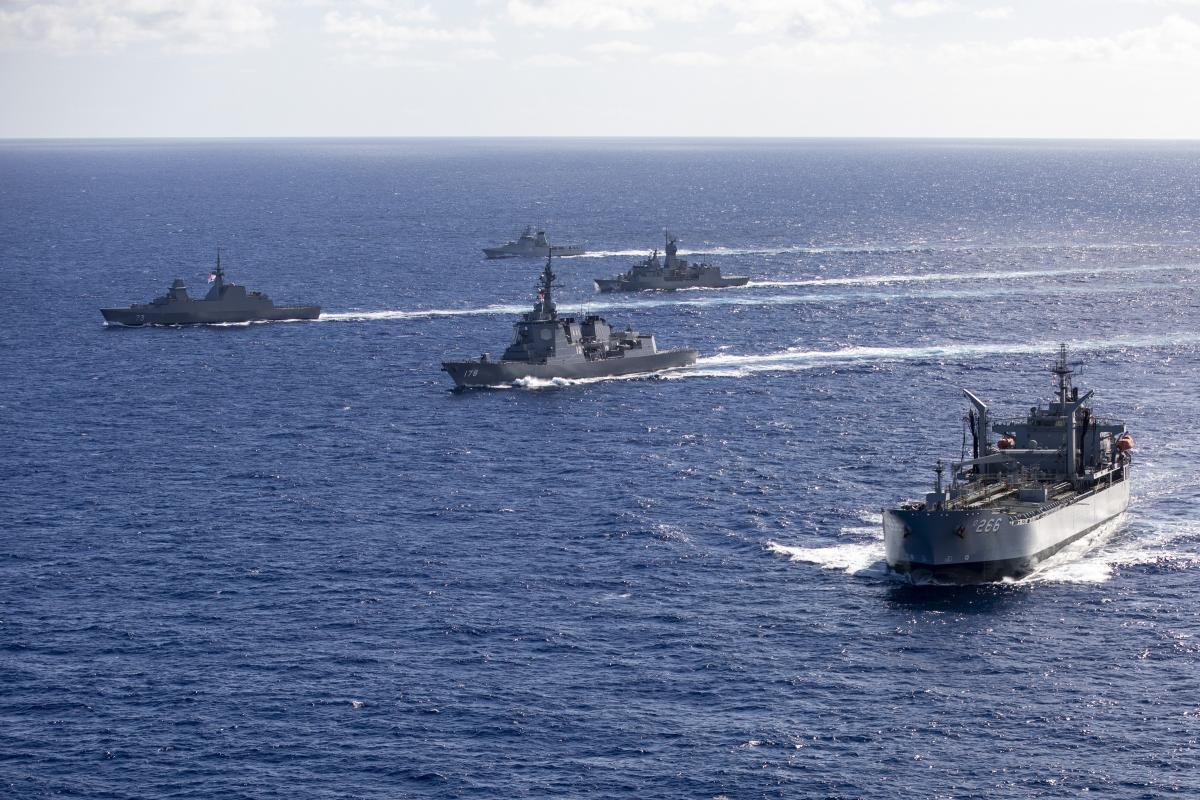 HMA Ships Sirius and Stuart sail in company with RSS Supreme, KDB Daruleshan, and JS Ashigara through the Pacific Ocean as they prepare for Exercise Rim of the Pacific. Photo: LSIS Christopher Szumlanski