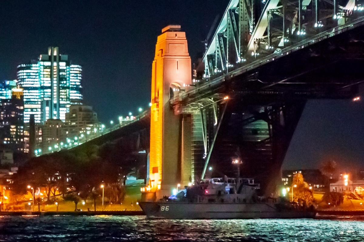HMAS Diamantina departs Sydney Harbour for a three-month deployment to north-east Asia.