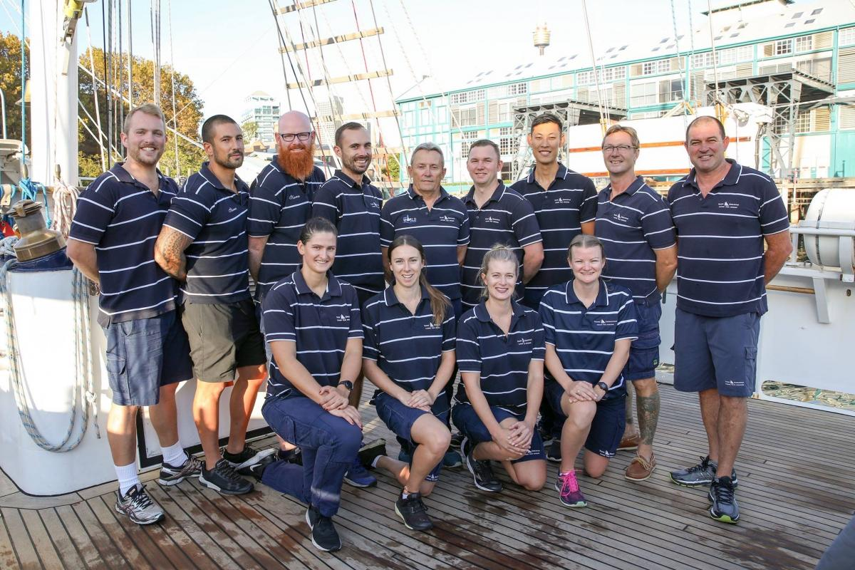 Young Endeavour's ship's company at Garden Island, Sydney, with Commanding Officer LCDR Andrew Callander in the centre, back row.