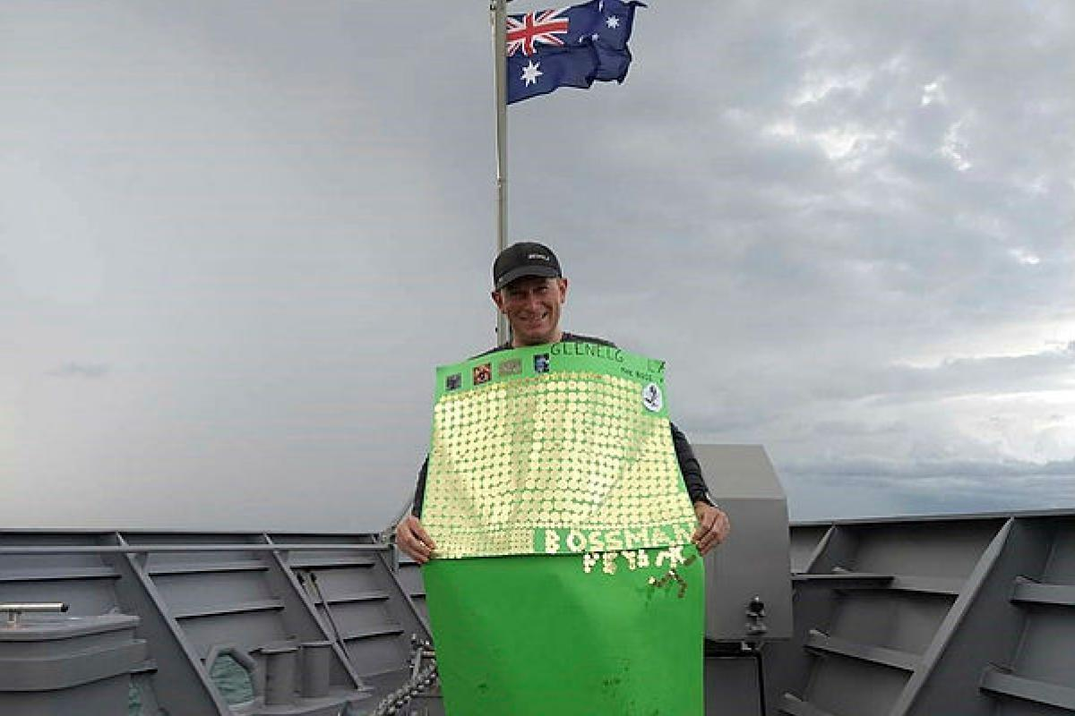 HMAS Glenelg's Commanding Officer Lieutenant Commander Jared Webb after completing his marathon challenge for the Running for Premature Babies charity.
