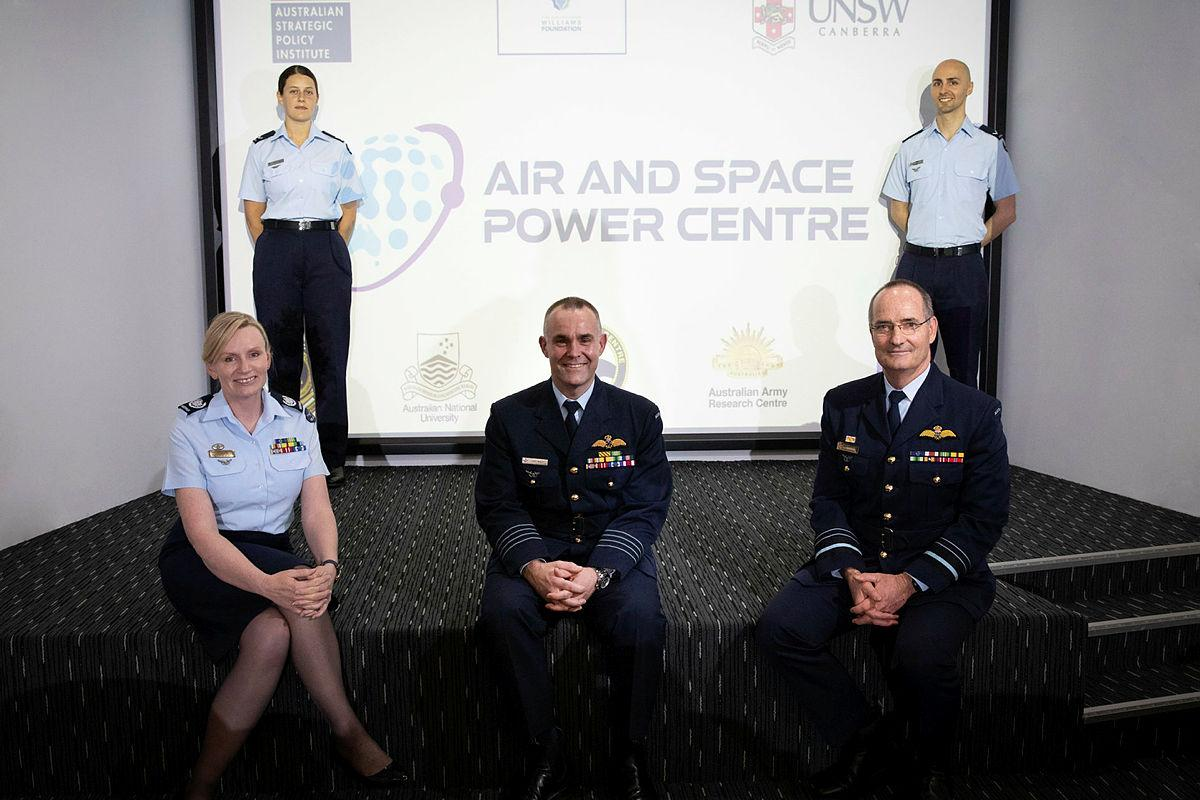 At the Air and Space Power Centre opening Warrant Officer Fiona Grasby, left, Leading Aircraftwoman Tiarna Stuart, centre director Group Captain Jason Begley, Air Marshal Mel Hupfeld, and Leading Aircraftman Julian Conte. Photo: Corporal Kylie Gibson