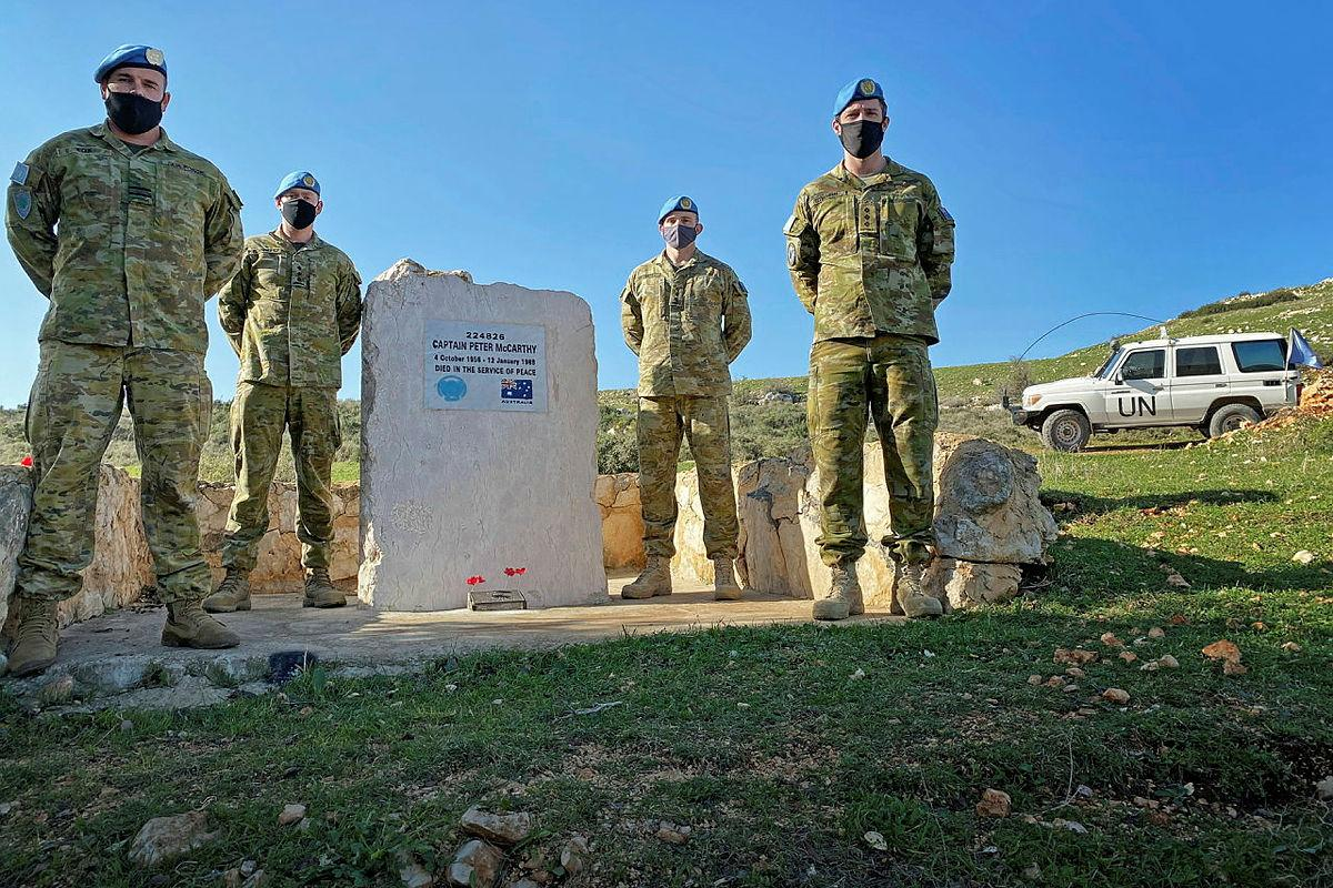 ADF personnel of the Observer Group Lebanon at the memorial for Royal Australian Corps of Transport officer Captain Peter McCarthy.