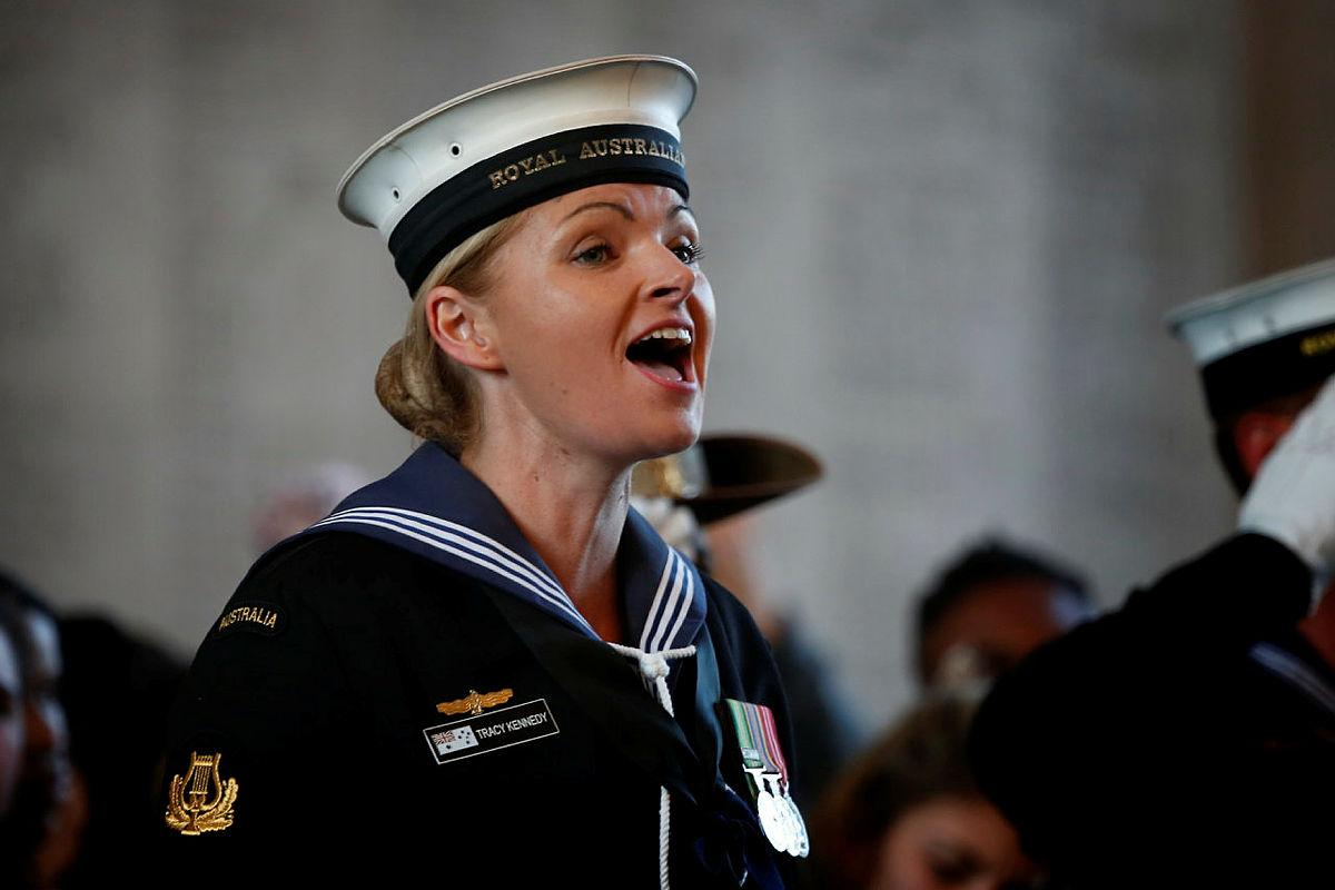 Leading Seaman Tracy Kennedy is proud to provide vocals on the new recording of Advance Australia Fair. Photo: Sergeant Christopher Dickson