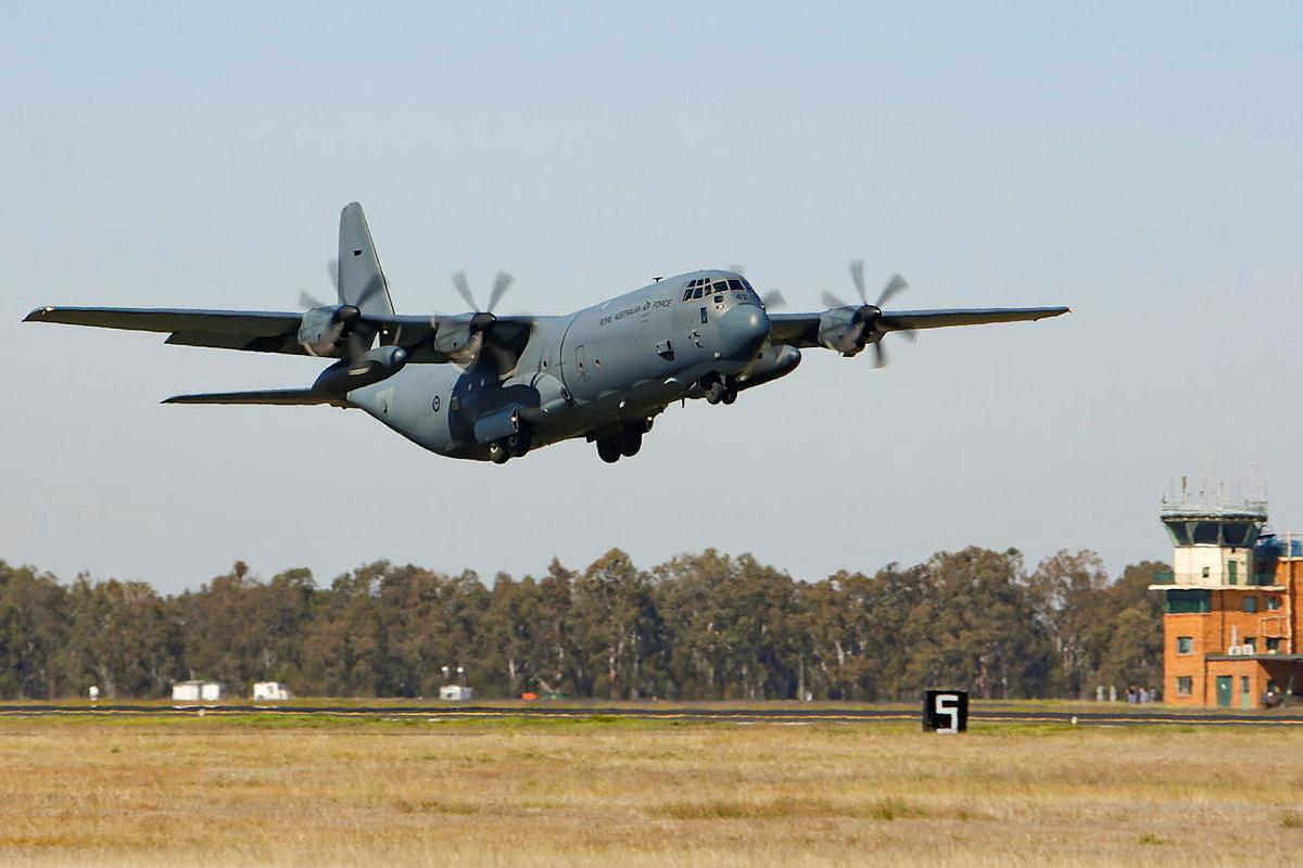An Air Force C-130J Hercules from No. 37 Squadron takes off from RAAF Base Amberley. Photo: Corporal Jesse Kane