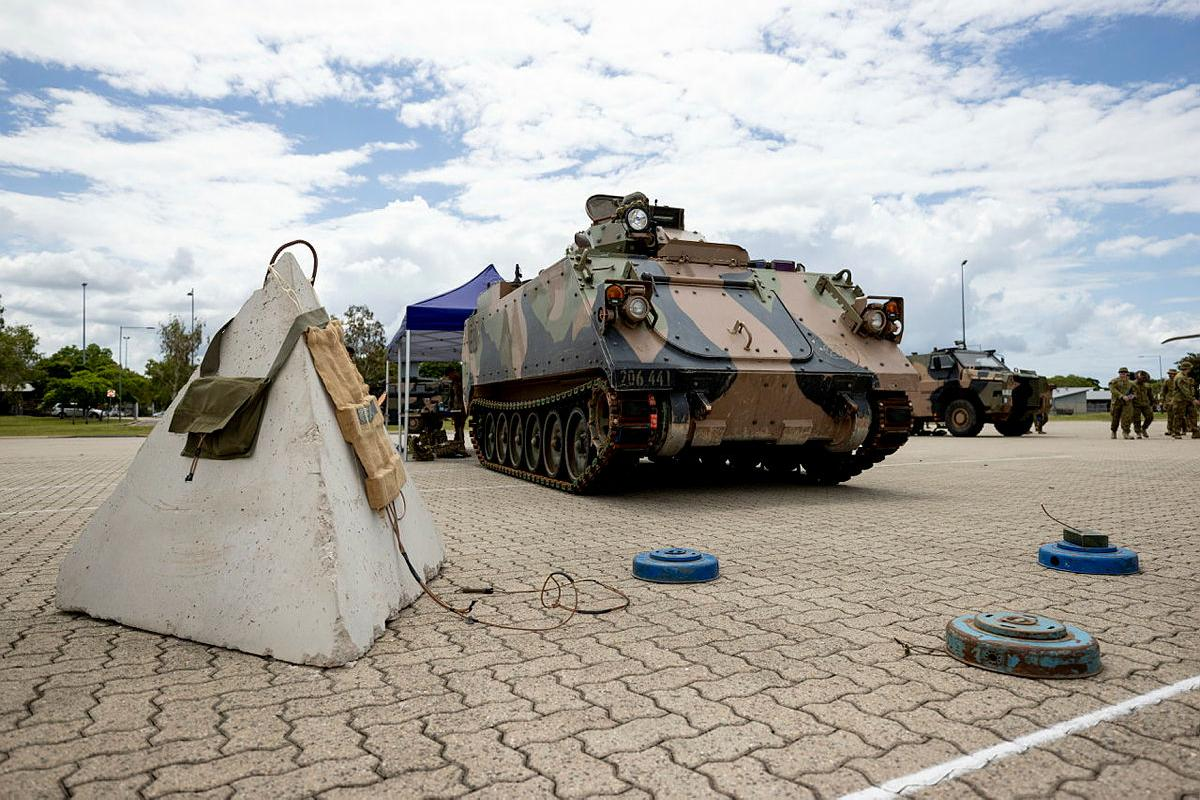Army's 3rd Combat Engineer Regiment displays its obstacle breaching and minefield clearance capabilities at the 3rd Brigade Combined Arms display held at Lavarack Barracks, Townsville. Photo: Corporal Brodie Cross