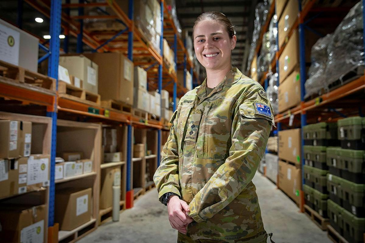 Lieutenant Madeline Meagher at the warehouse facility in the Middle East region. Photo: Sergeant Ben Dempster