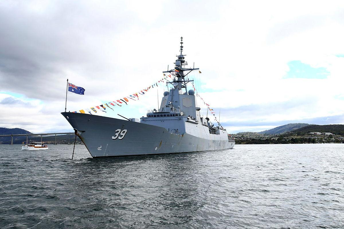 A 'dressed' HMAS Hobart at anchor on the River Derwent for the Royal Hobart Regatta. Photo: Warrant Officer Class 2 Max Bree