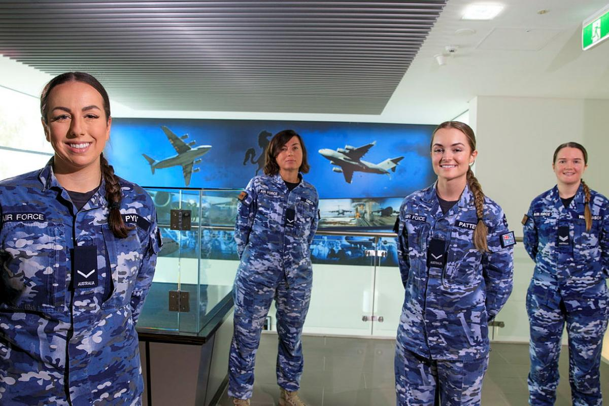 Personnel from No. 36 Squadron's orderly room, from left, Leading Aircraftwomen Jarla Pyle, Pinar Girca, Abbey Patterson and Corporal Cass Williamson at RAAF Base Amberley. Photo: Corporal Brett Sherriff