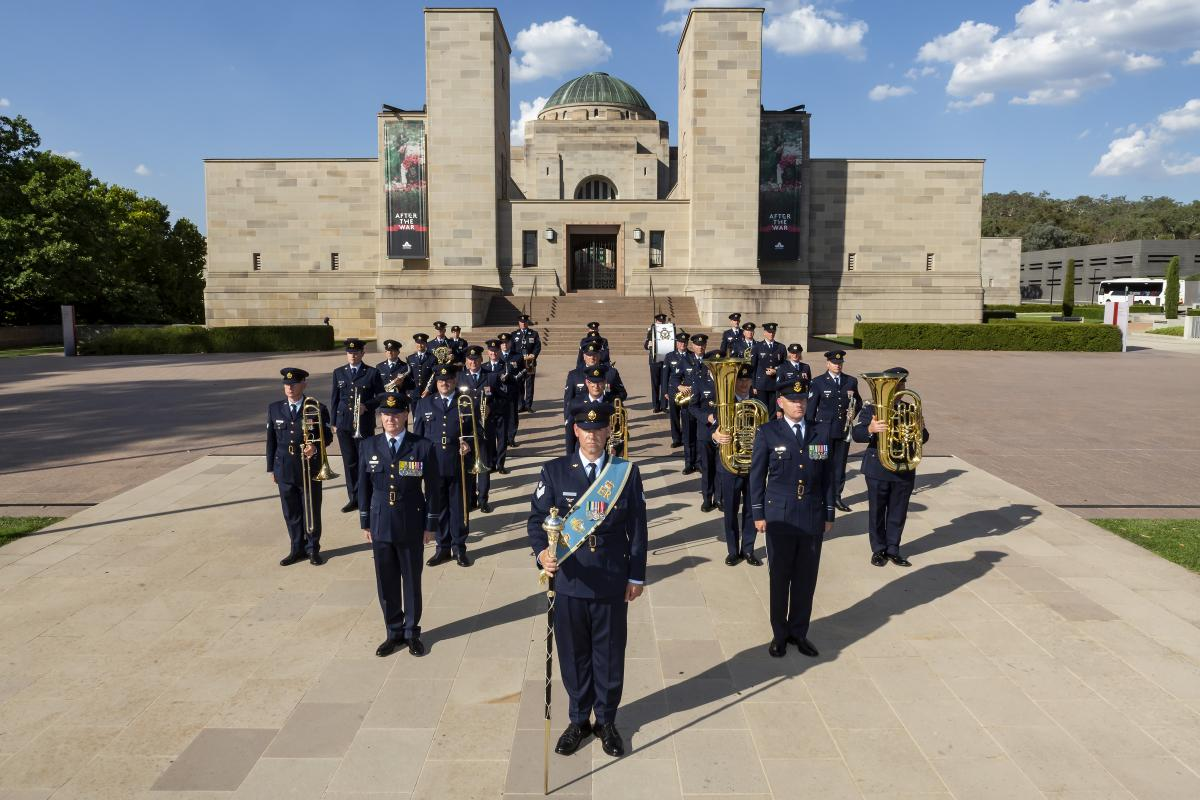 The Air Force Band in ceremonial formation on the forecourt of the Australian War Memorial in Canberra.