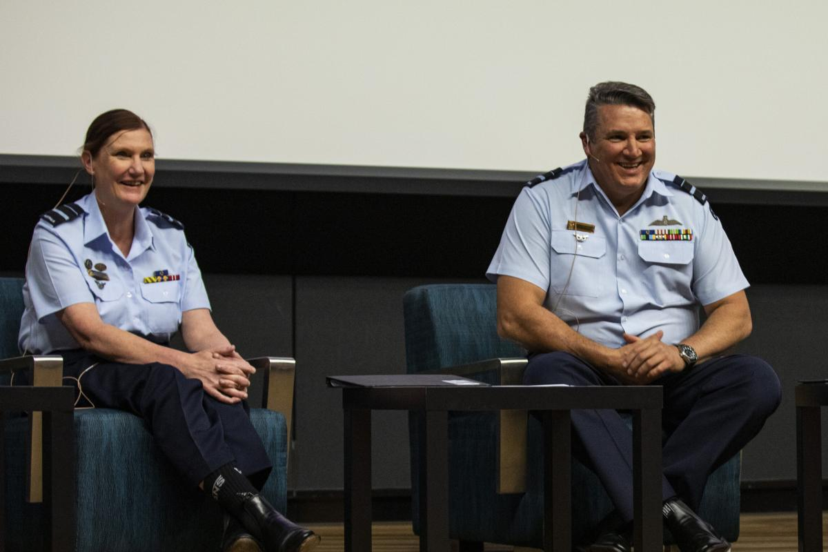 Head of Air Force Capability Air Vice-Marshal Cath Roberts hosts a question and answer session alongside Deputy Chief of Air Force Air Vice-Marshal Stephen Meredith during an International Women's Day event. Photo, Leading Aircraftman Adam Abela