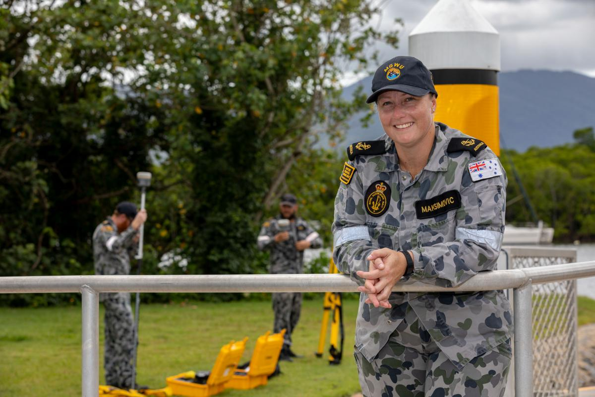 Leading Seaman Hydrographic Systems Operator Tanya Maksimovic with Deployable Geospatial Support Team 4 in Cairns. Photo: Leading Seaman Shane Cameron