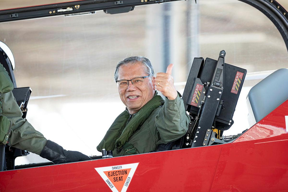 Governor of South Australia Hieu Van Le in a PC-21 aircraft after a flight during his visit to RAAF Edinburgh, South Australia. Photo: Leading Aircraftman Sam Price