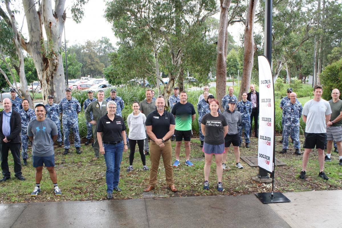 Air Force personnel from Headquarters Air Combat Group who participated in the March On challenge with representatives from Soldier On.