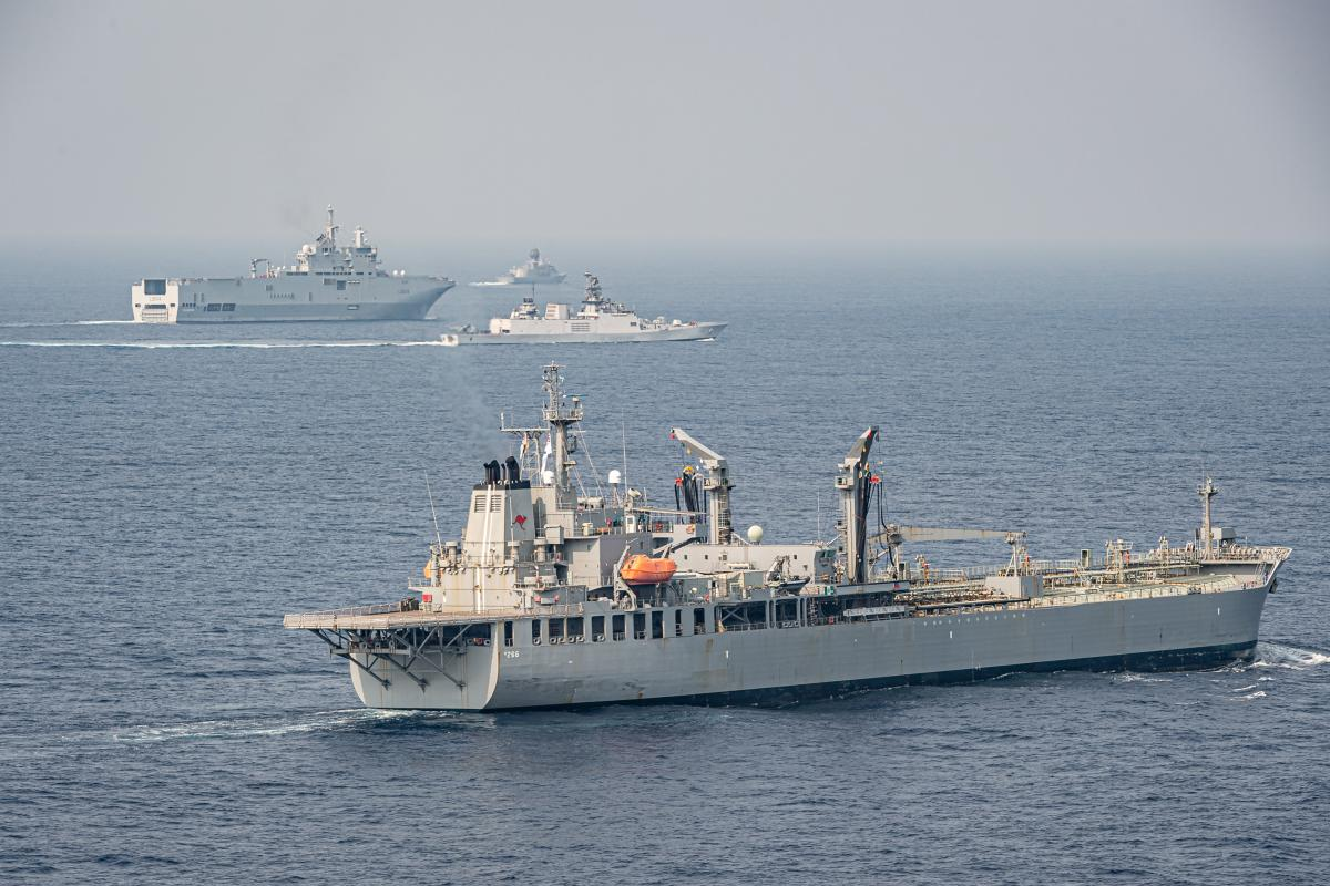 HMAS Sirius sails in company with frigates INS Kiltan of the Indian Navy and FS Surcouf of the French Navy, in the Bay of Bengal during Exercise La Perouse.