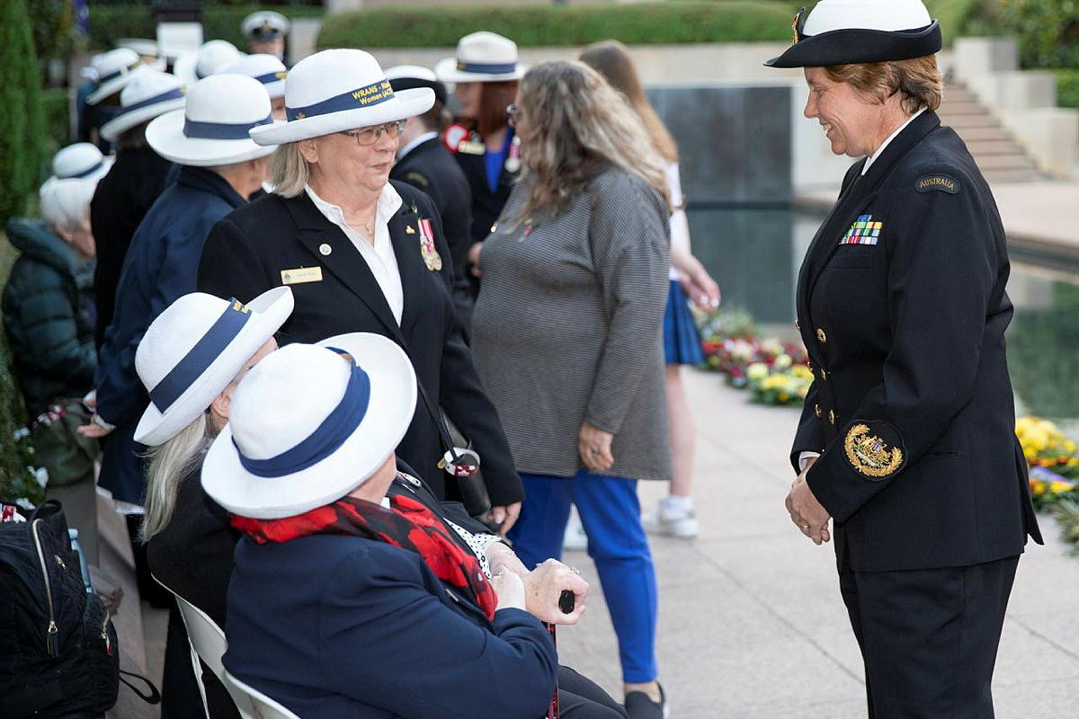 Warrant Officer of the Navy Deb Butterworth, right, speaks with Gaye Doolan, Heather Milward and Judith Rowe from the WRANS - Naval Women's Association (ACT) at the Australian War Memorial. Photo: Petty Officer Bradley Darvill