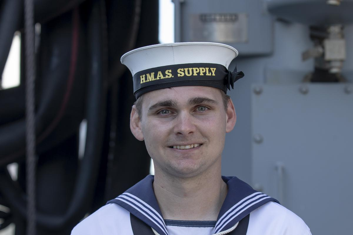 Able Seaman Cody McNulty on board HMAS Supply during her commissioning ceremony at Fleet Base East in Sydney. Photo: Sergeant Catherine Kelly