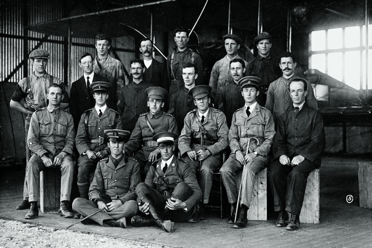 At the Central Flying School. Lieutenant George Merz is seated (second row from front) second from left, Captain Henry Petre is seated third from left and Lieutenant Eric Harrison is seated fourth from left. Photo: Australian War Memorial