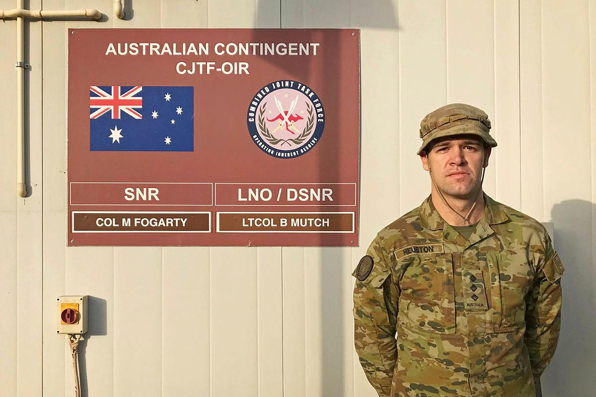 Captain Alex Heuston, from Singleton, NSW, is currently deployed as a military adviser and will be at Camp Arifjan, Kuwait, on Anzac Day.