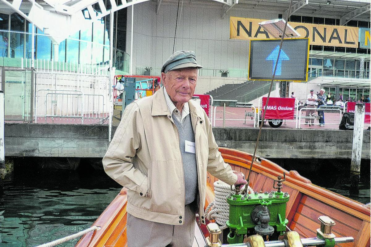 George King, who turned 100 on Anzac Day, visiting the National Maritime Museum in Sydney.