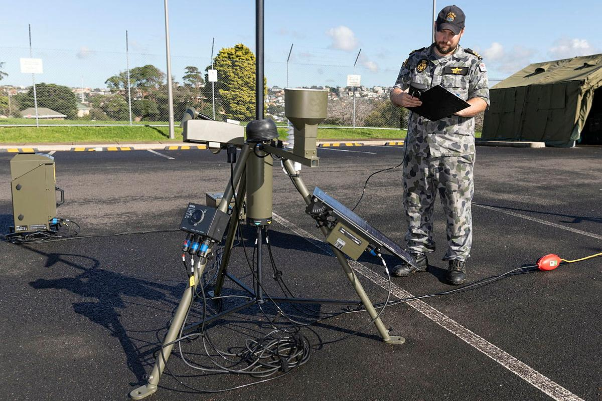 Lieutenant Matthew Bell records readings from the automatic weather station during Exercise Sparrow at HMAS Penguin. Photo Able Seaman Daniel Goodman