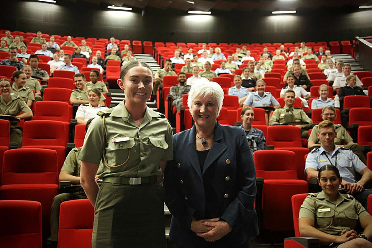 Officer Cadet Sophie Clarke, Australian Defence Force Academy Sisters in Arms President and Dame Annette King, New Zealand High Commissioner to Australia.