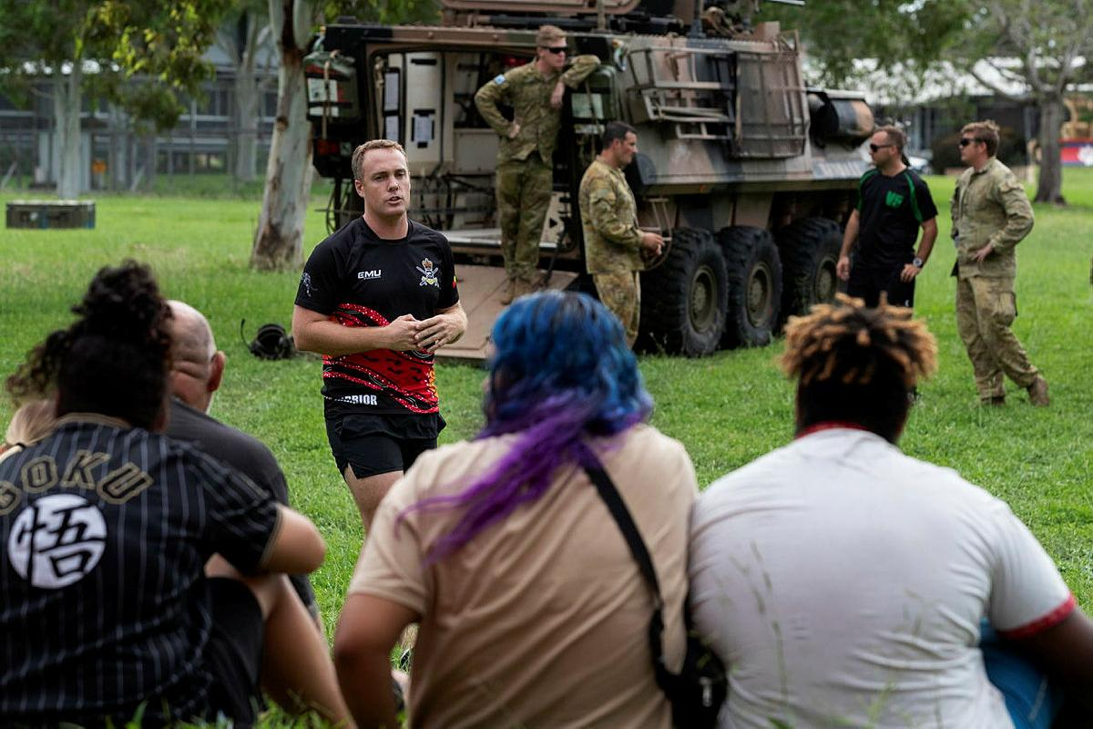 Major Matthew Daniell, from the 2nd Cavalry Regiment, briefs participants of the Proud Warrior youth engagement program at Lavarack Barracks. Photo: Corporal Brandon Grey