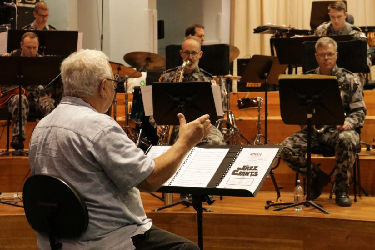 John Hoffman hosts a workshop with RAN Band Melbourne in its studio at HMAS Cerberus in Victoria.