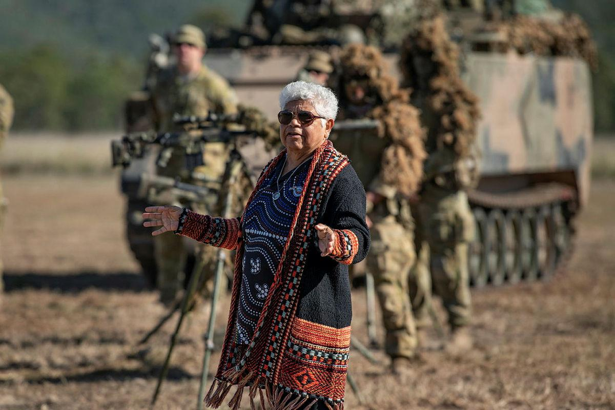 Darumbal Elder Aunty Nicky Hatfield gives a Welcome to Country to soldiers of the 6th Battalion, Royal Australian Regiment, before Exercise Diamond Walk at Shoalwater Bay, Queensland. Photo: Private Jacob Hilton