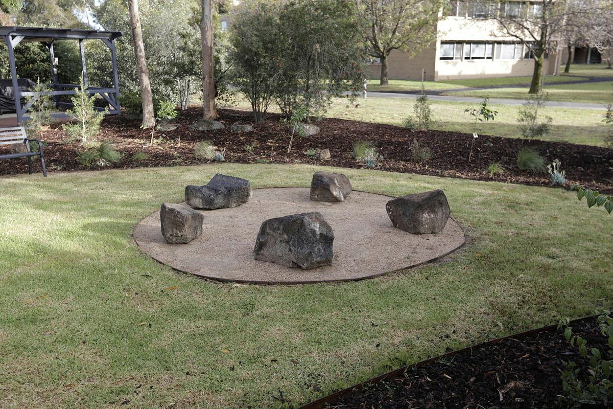 The circular space at the heart of the yarning circle at RAAF Base Williams in Laverton, Victoria, was designed to break down hierarchies and encourage respectful interactions.