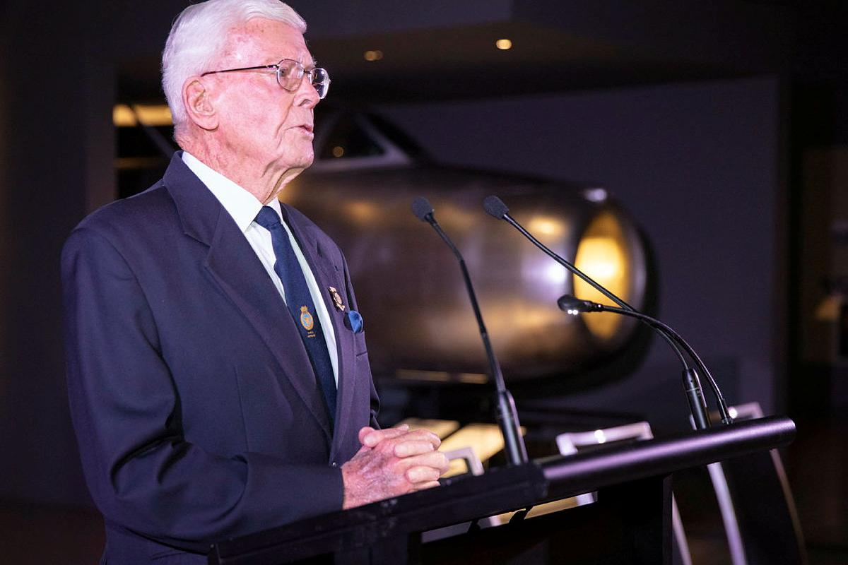Former chief of naval personnel Rear Admiral Guy Griffiths (retd) at the launch of his biography, Guy Griffiths: The Life & Times of an Australian Admiral, at the Australian War Memorial. Photo: Petty Officer Bradley Darvill