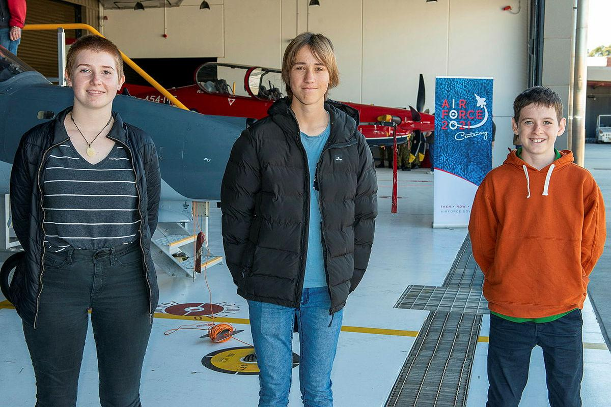 Larni-Mai Ramsell, left, Luke Roecker and Heath Caldwell, from Albany, Western Australia, are provided a behind-the-scenes tour of RAAF Base Pearce. Photo: Sergeant Gary Dixon