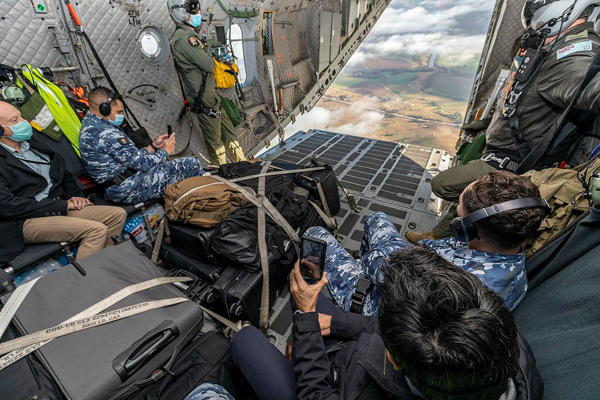 Personnel attending the Air Lift Systems Program Office C-27J Senior Partnering Board experience a RAAF C-27J Spartan tactical flying. Photo: Corporal Dan Pinhorn