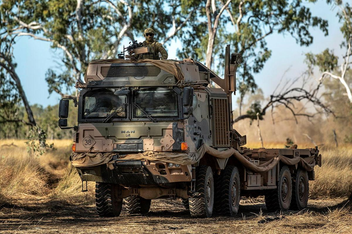 Soldiers of 7 Combat Service Support Battalion, drive a HX77 Truck as an escort during Exercise Diamond Walk at Shoalwater Bay, Queensland. Photo: Private Jacob Hilton