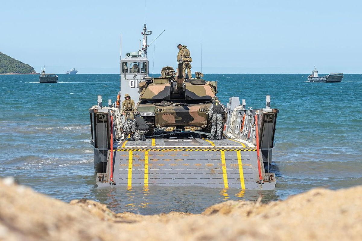 An M1A1 Abrams Tank is loaded onto a RAN light landing craft during Exercise Sea Explorer at Cowley Beach, Queensland. Photo: Leading Aircraftwoman Jacqueline Forrester