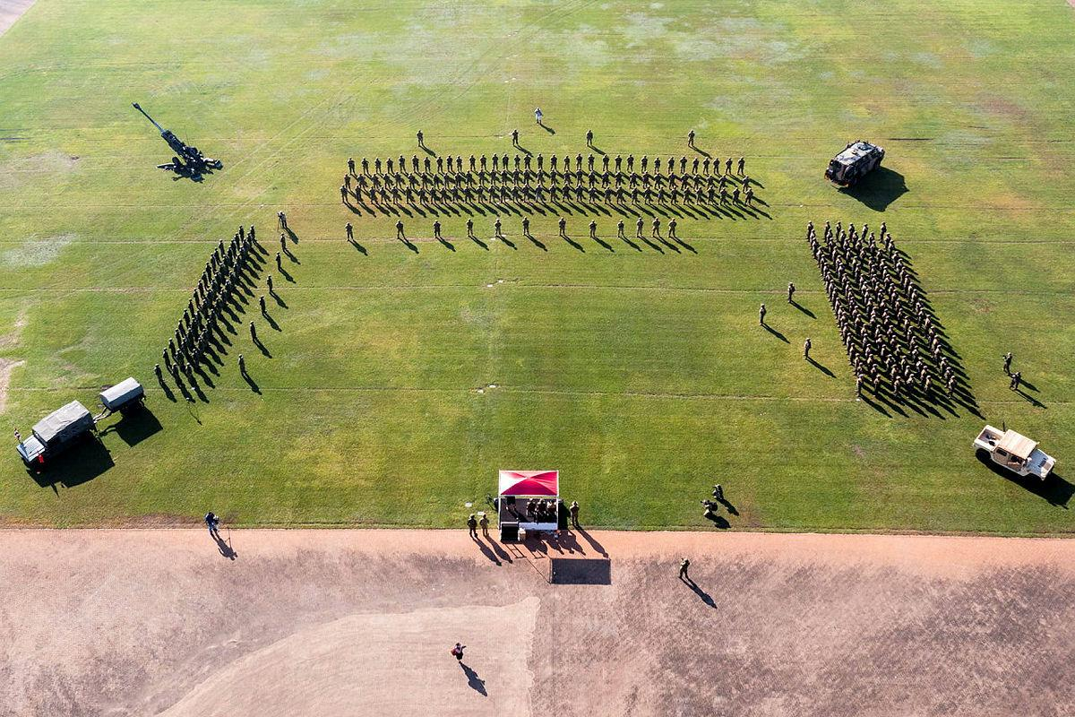 Members of the Japan Ground Self-Defense Force, United States Marine Corps and the Australian Army take part in the opening ceremony of Exercise Southern Jackaroo at Robertson Barracks. Photo: Corporal Rodrigo Villablanca