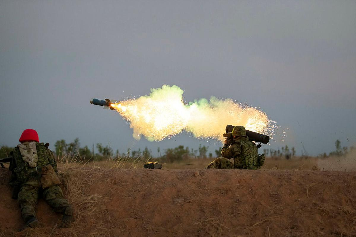 A Japan Ground Self-Defence Force soldier fires a Type 01 LMAT anti-tank missile during Exercise Southern Jackaroo, held at the Mount Bundey Training Area. Photo: Private Jacob Joseph