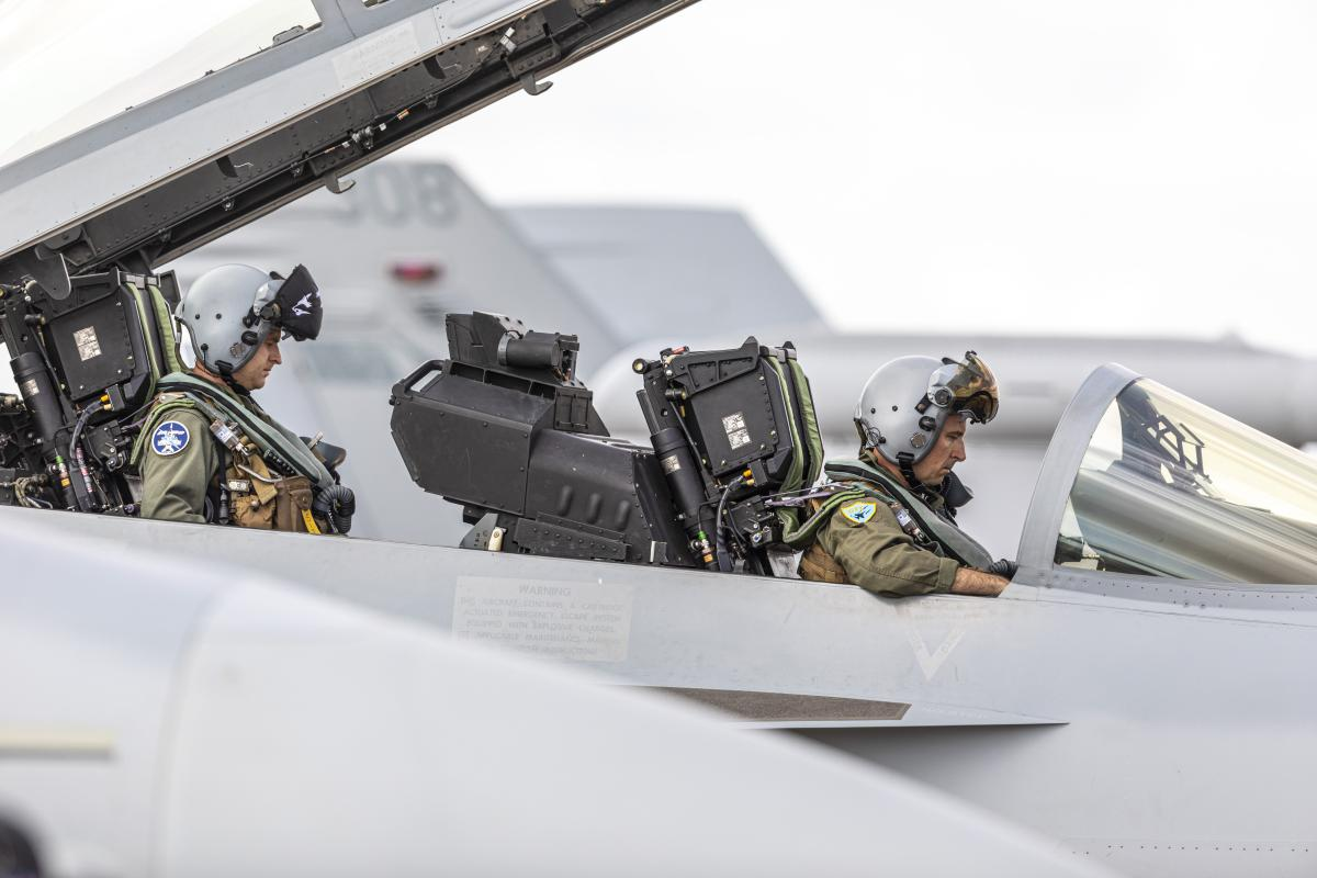 Aircrew from No. 6 Squadron run system checks as part of the pre-flight routine on an EA-18G Growler at RAAF Base Darwin during Exercise Arnhem Thunder 21. Photo: Leading Aircraftman Stewart Gould