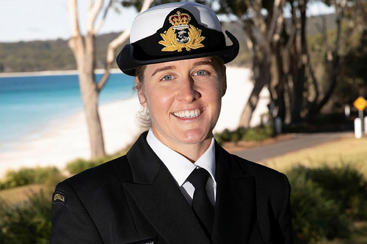 Nursing officer and New Entry Officers Course 64 graduate Lieutenant Laura McRae at HMAS Creswell, Jervis Bay, New South Wales. Photo: Petty Officer Justin Brown